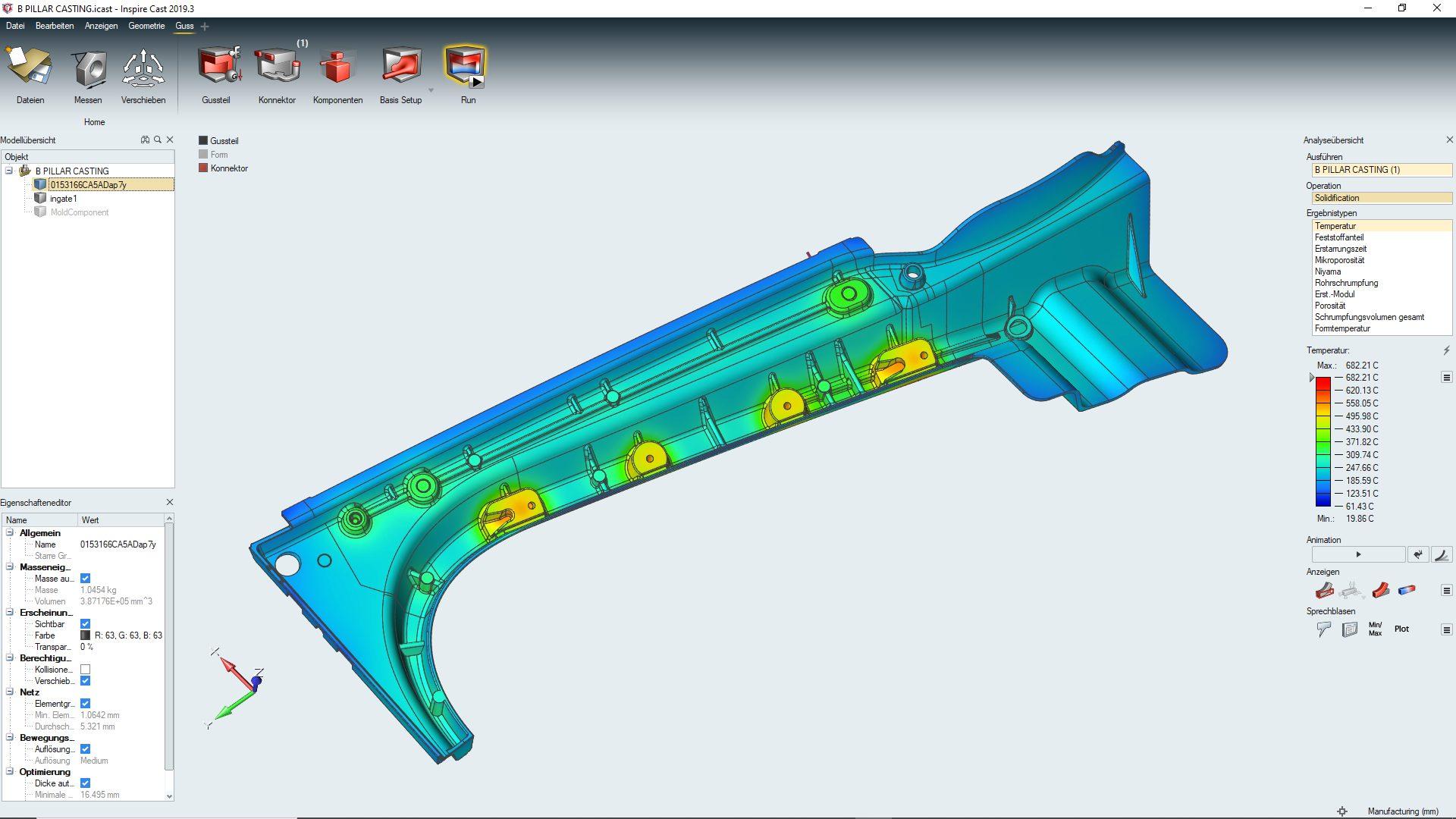 Strukturteil Inspire Cast Simulation